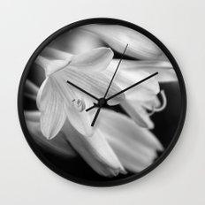 Black and White Hosta Bloom Wall Clock