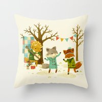 Critters: Spring Dancing Throw Pillow
