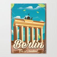 brandenburg gate Berlin german vintage travel poster Canvas Print