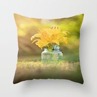Joyful Yellow Throw Pillow