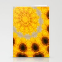 Sunflower and Bee Abstract Stationery Cards