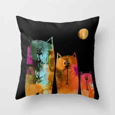 Family Cat By Night :) Throw Pillow