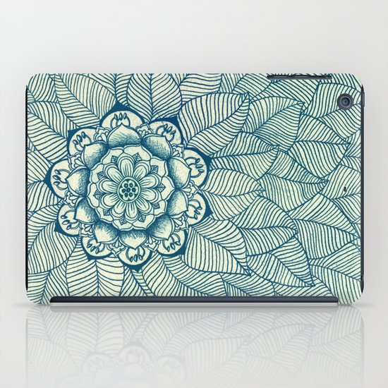 Emerald Green, Navy & Cream Floral & Leaf doodle iPad Case