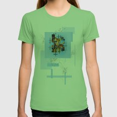 Blades Of Grass And Leaves In The Blue Sky Womens Fitted Tee Grass SMALL