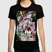 CRAYON LOVE - Springflowers Womens Fitted Tee Black SMALL