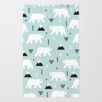 Polar Bears Geometric Wi… Rug