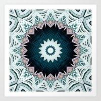 Blue Green Buildings Mandala Art Print