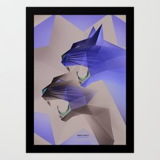 Geometric Cats Art Print