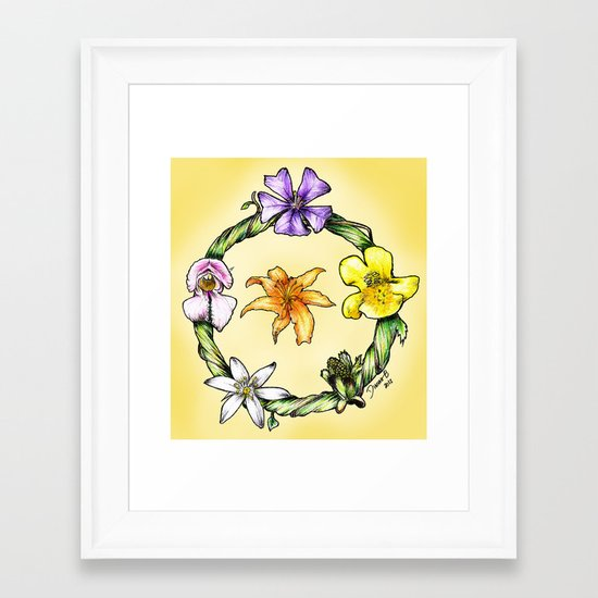 Garland of flowers Framed Art Print