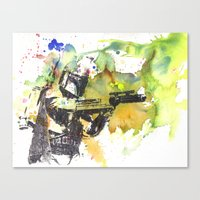 Boba Fett Firing off Green Color Canvas Print
