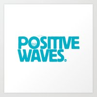 Positive Waves (Blue) Art Print