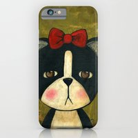 iPhone & iPod Case featuring Portrait Of A Boston Terrier Dog by Danita Art