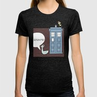 Don't Let the Pigeon Drive the Tardis Womens Fitted Tee Tri-Black SMALL