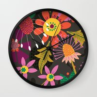 Jungle Flowers Wall Clock