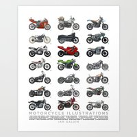 Motorcycle Illustration Poster Art Print