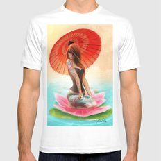 Lotus Girl SMALL White Mens Fitted Tee