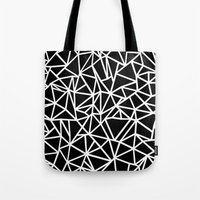 Abstract Outline Thick White on Black Tote Bag