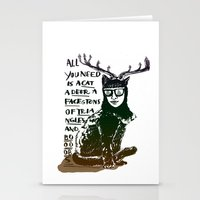 Hipster Cat giving Smart Advice Stationery Cards