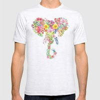 Flower Elephant Watercolor Mens Fitted Tee Ash Grey SMALL