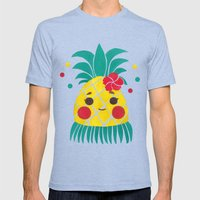 Miss Hawaiian Pineapple Mens Fitted Tee Tri-Blue SMALL