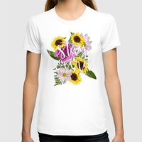 Stay Weird in Flowers // Hand Lettering Womens Fitted Tee White SMALL