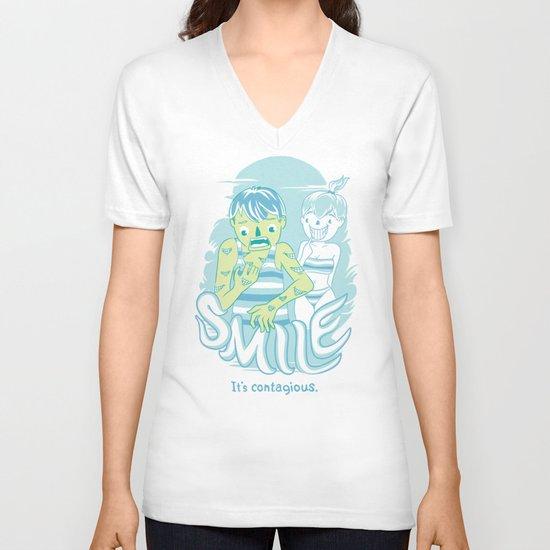Smile It's contagious :D V-neck T-shirt