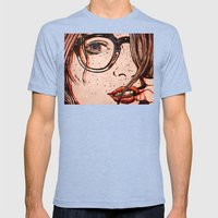 LE REGARD Mens Fitted Tee Tri-Blue SMALL