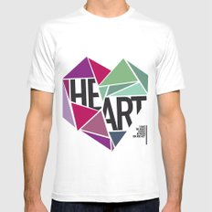 BROKEN HEART SMALL Mens Fitted Tee White