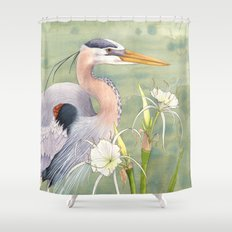 Great Blue Heron and Spider Lilies Shower Curtain