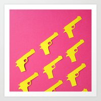 Guns Papercut Art Print
