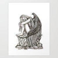A Sleeping Angel , Black… Art Print