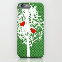 iPhone & iPod Case featuring Tree Silhouette on gree pattern by ialbert