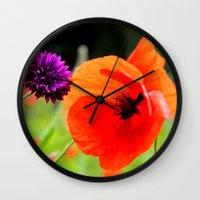 wild poppies Wall Clock