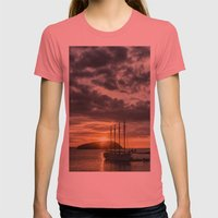 Sunrise Bar Harbor Maine Womens Fitted Tee Pomegranate SMALL