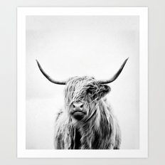 portrait of a highland cow - vertical orientation by request Art Print