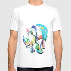 Rhino colour SMALL Mens Fitted Tee White