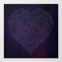 Double Heart Weave Canvas Print