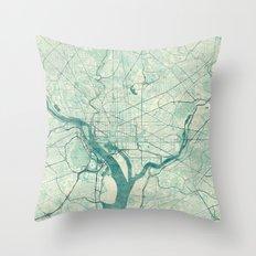 Washington Map Blue Vintage Throw Pillow