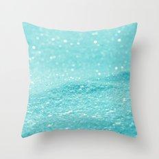 Glitter Turquoise Throw Pillow