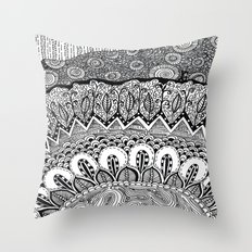 Black and White Doodle Throw Pillow
