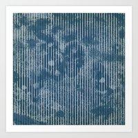 White stripes on grunge textured blue background Art Print