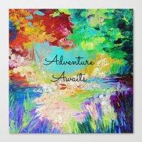 ADVENTURE AWAITS Wanderlust Typography Explore Summer Nature Rainbow Abstract Fine Art Painting Canvas Print