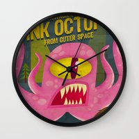 Pink Octopus From Outer … Wall Clock
