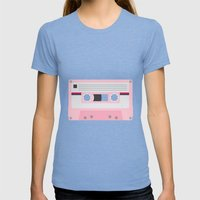 #52 Cassette Tape Womens Fitted Tee Tri-Blue SMALL