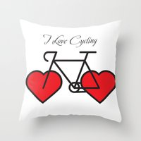 I love cycling Throw Pillow