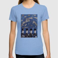Four Men Waiting Womens Fitted Tee Tri-Blue SMALL