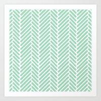 Herringbone Mint Zoom Art Print