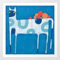 SKINNY CAT WITH YARN BAL… Art Print