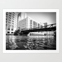 Black and White Chicago River Bridge Photography Art Print