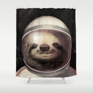 Shower Curtain featuring Space Sloth  by Eric Fan